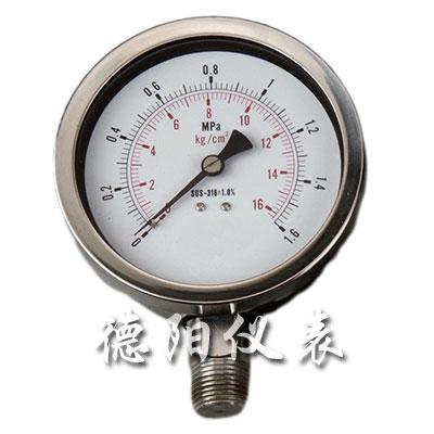 全不锈钢安全型压力表